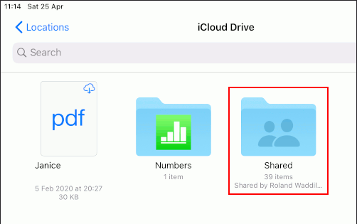 iCloud Drive files and folders in the Files app on the iPad