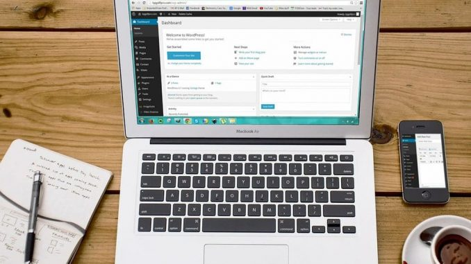 WordPress on an Apple MacBook laptop computer