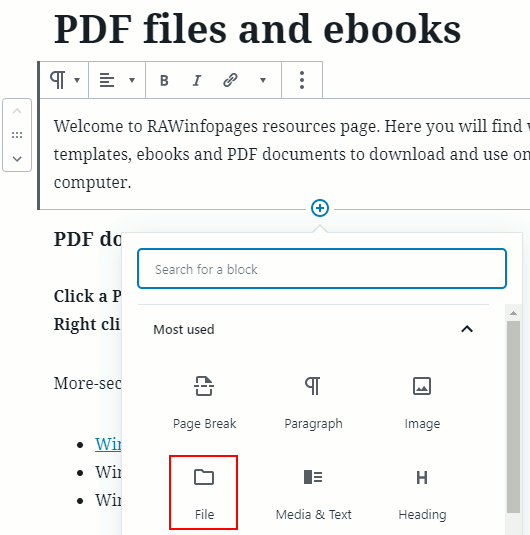 A Gutenberg File block in WordPress post editor