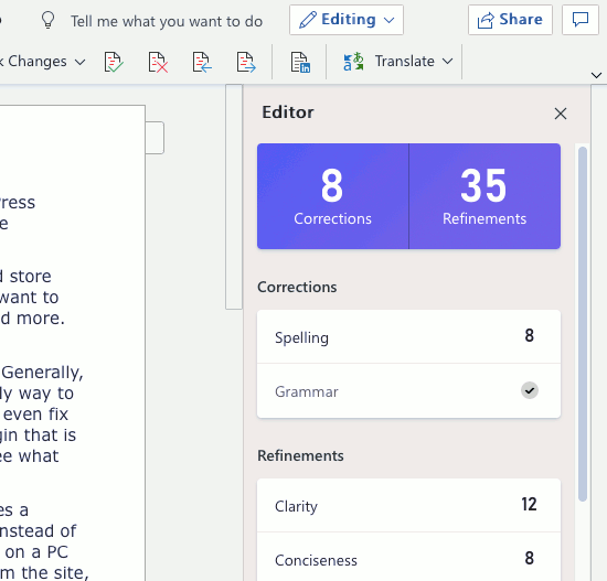 The Editor panel in Microsoft Word web app