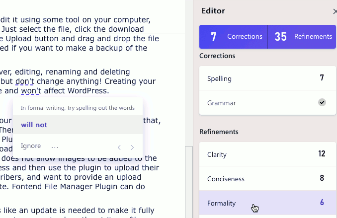 Correcting a problem with the Editor in Microsoft Word web app