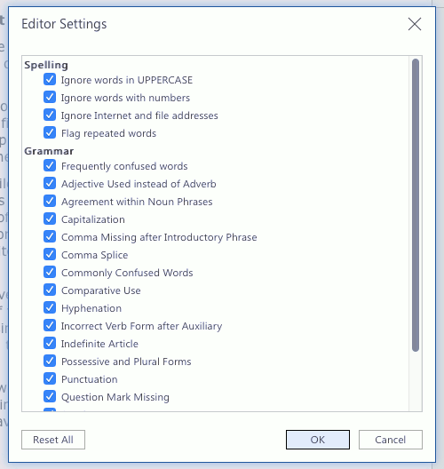 Settings for Microsoft Editor in the Word web app