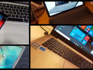 Collage of tech gear: Windows laptops, Apple MacBook, iPhone and iPad