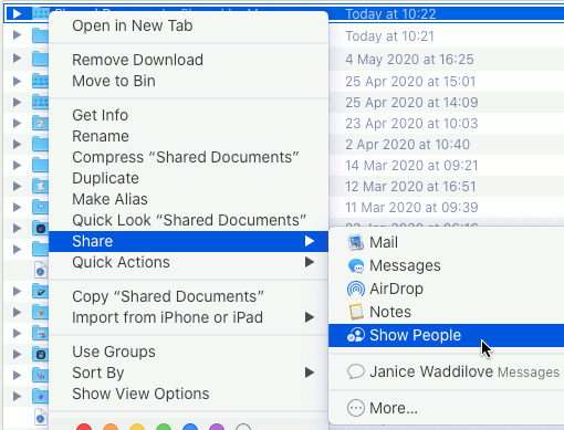 Add or view people in a shared iCloud folder