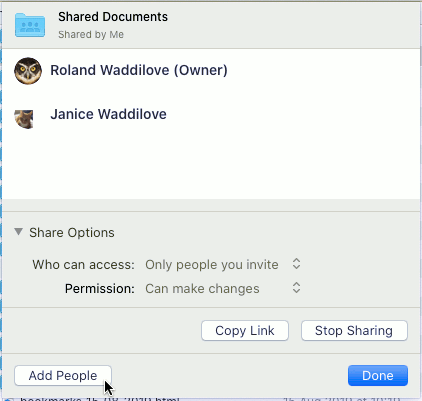 Add or view people in a shared iCloud folder on the Apple Mac