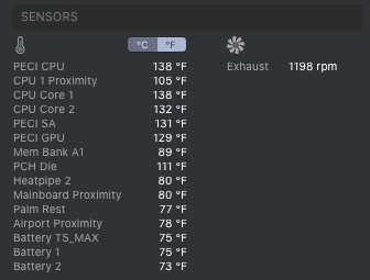 iStatistica temperature and fan display on the Apple Mac