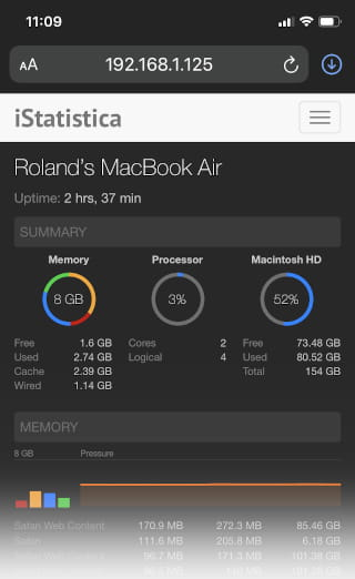 Remotely monitor an Apple Mac with iStatistica
