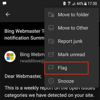 Flag an email in the Outlook phone app