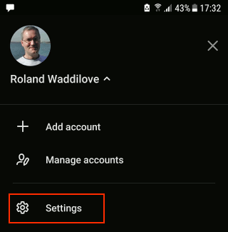 The account screen in Microsoft To Do app on a phone