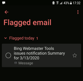 Flagged email to-do list in Microsoft To Do app on a phone