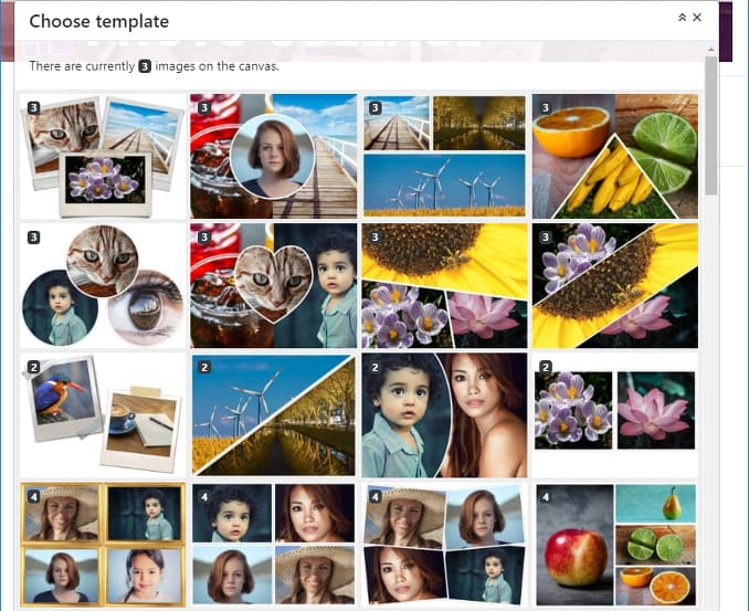 Selecting a template using Photo Collage website