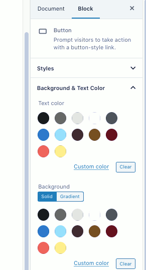 Color options in WordPress post editor