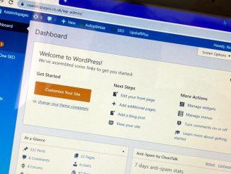 WordPress home screen editing a website