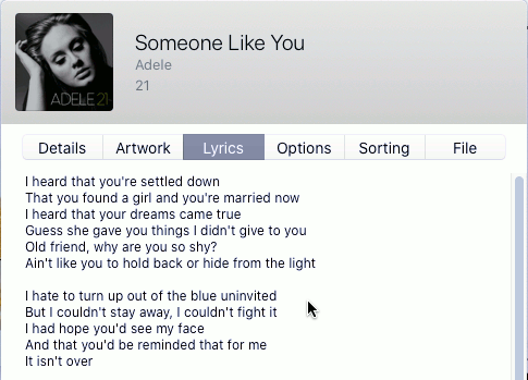 Show the lyrics for a music track in Apple Music