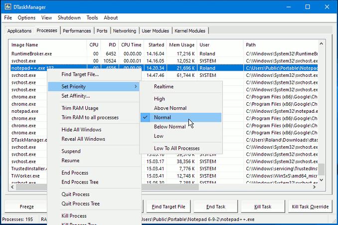 DTaskManager, alternative to Windows Task Manager
