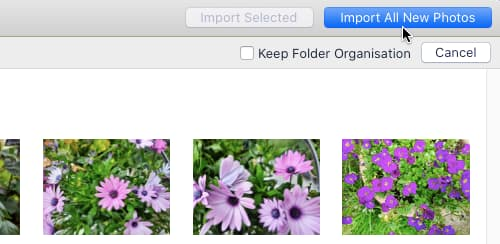 Import photos into the Photos app on the Apple Mac
