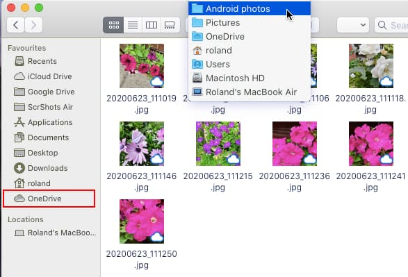 Browsing the OneDrive folder on the Mac with Finder