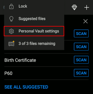 Personal Vault menu in the OneDrive phone app