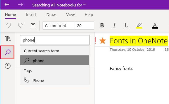 Search for content, search for tags in OneNote app for PC and Mac