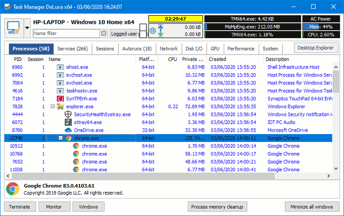 Task Manager DeLuxe alternative to Windows Task Manager