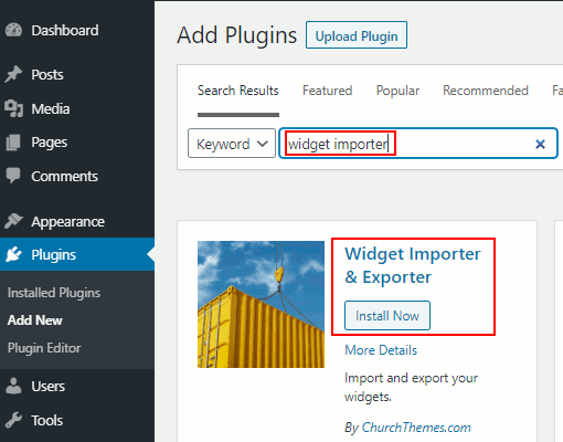Install a widget in WordPress