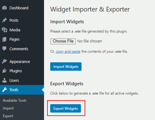 Widget Importer and Exporter in WordPress