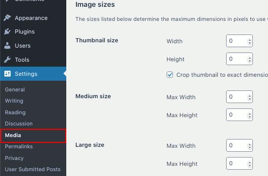 WordPress thumbnail image settings