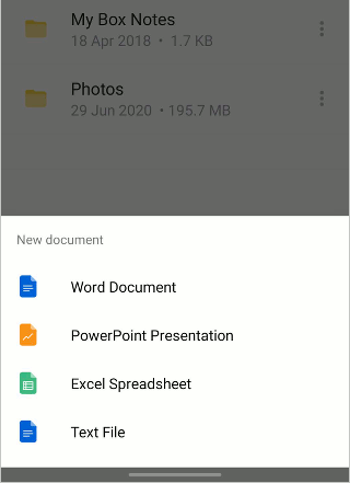 Create a Microsoft Office document in the Box app on a phone