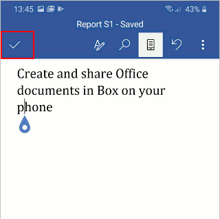 Microsoft Word app on a phone