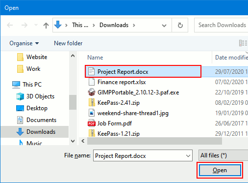 Open file window in Windows 10