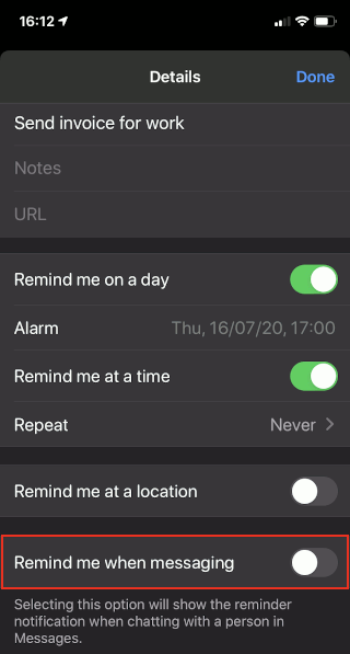 Reminders app on the iPhone