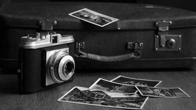 Old camera in a black and white photo