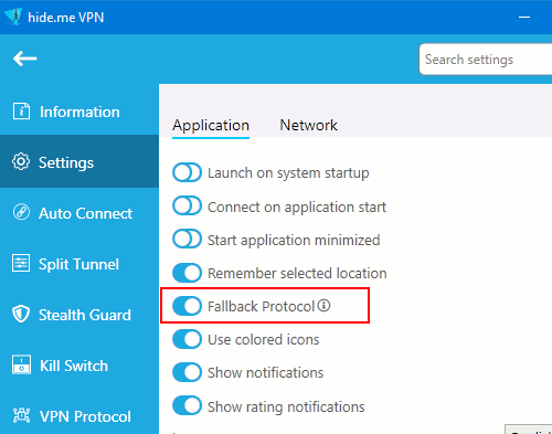 Settings in the Hide.me VPN app