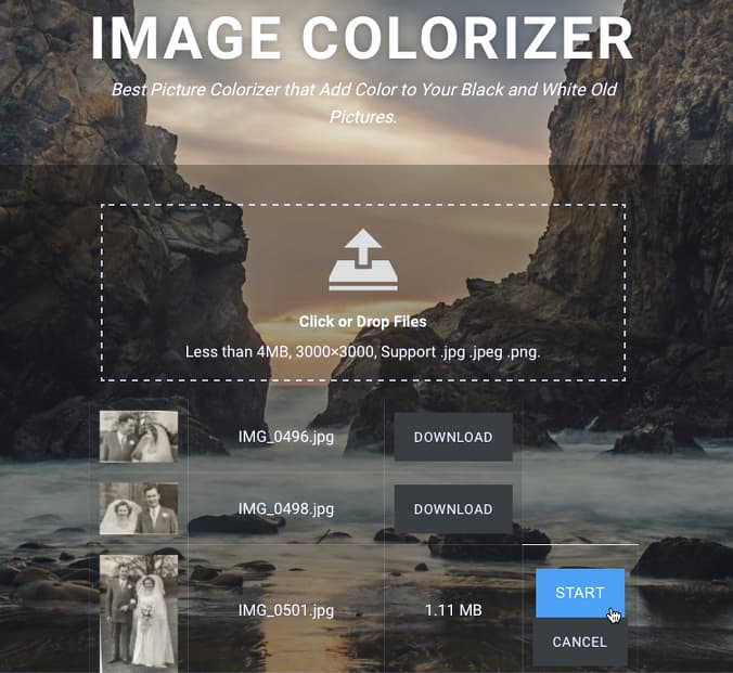 Image Colorizer website colors black and white photographs
