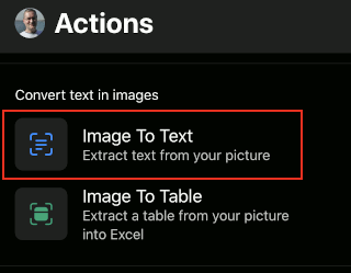 Actions in the Office app for phones