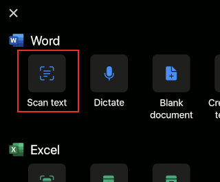 Create a document in the Microsoft Office phone app