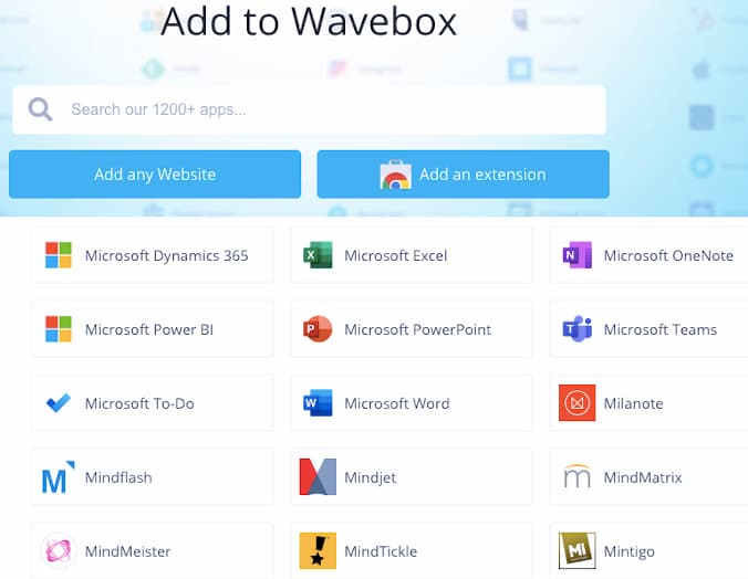 Add apps, web services and URLs to Wavebox browser