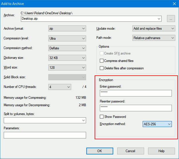 7-Zip archive settings highlighting encryption