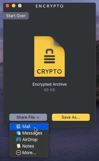Using Encrypto to email an encrypted file