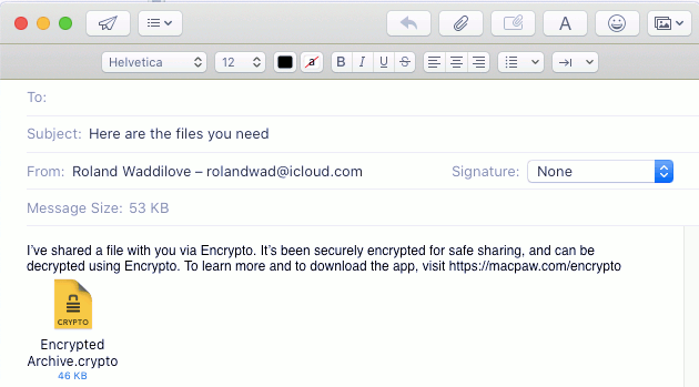Email an encrypted file on the Apple Mac