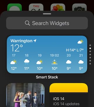 Widgets and Smart Stacks in iOS on an iPhone