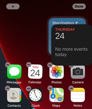 Stacking widgets on the home screen on the iPhone