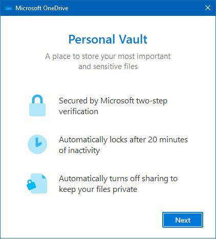 Micrsoft OneDrive personal vault