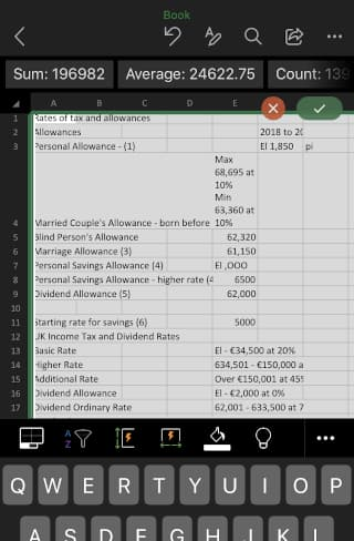 Microsoft Excel in the Microsoft Office app on a phone