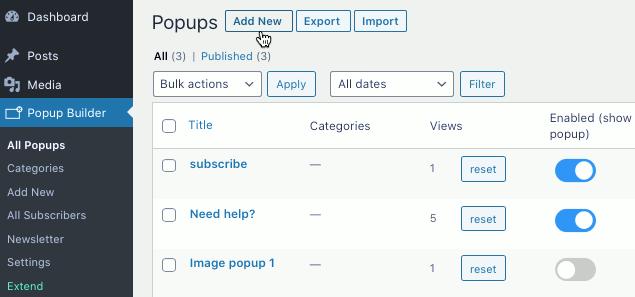 WordPress popups using Popup Builder plugin