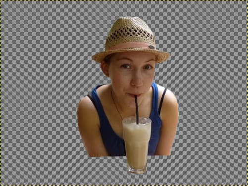 Cutout of a girl drinking a smoothie