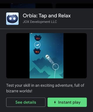 Orbia instant game in Google Play Games app on a phone