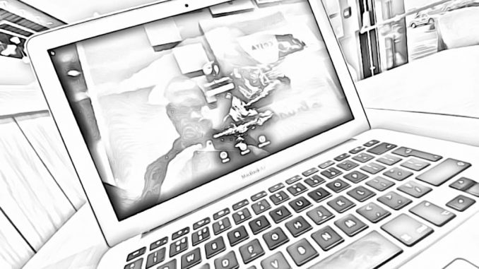 Photo of an Apple MacBook turned into a black and white sketch