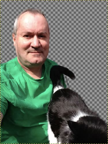 Photo cutout of a man and a cat