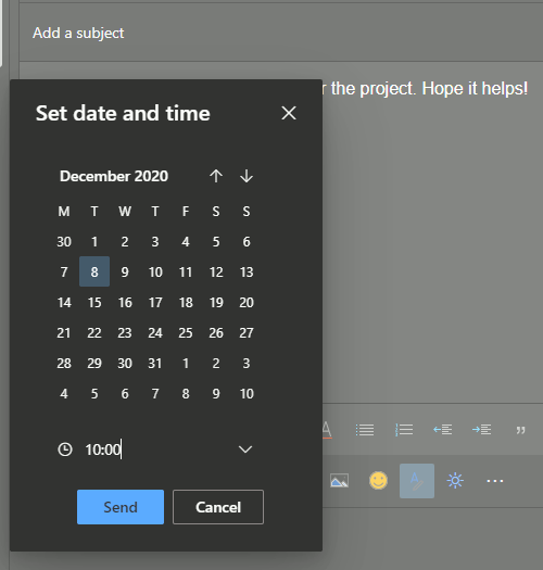 Schedule an email to send later in Outlook